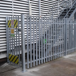 Palisade fencing on a commercial site